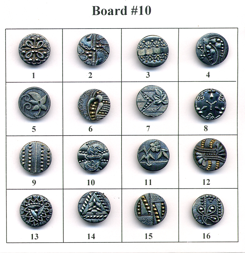 Antique Glass Buttons - Board #10