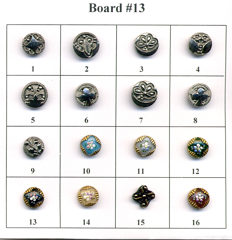 Antique Glass Buttons - Board #13