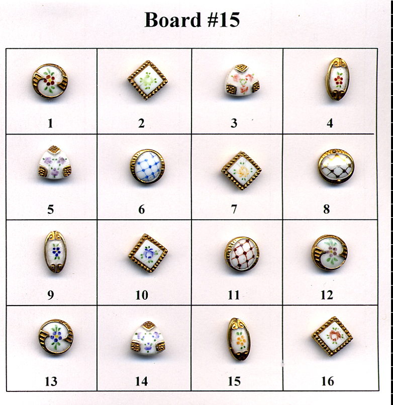 Antique Glass Buttons - Board #15
