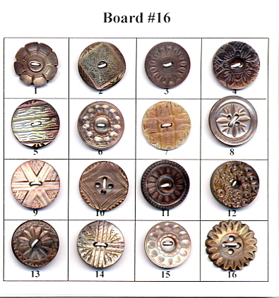 Antique Pearl Buttons - Board #16