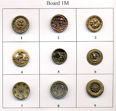 Antique Metal Buttons - Board #1M