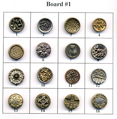 Antique Metal Buttons - Board #1