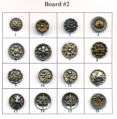 Antique Metal Buttons - Board #2