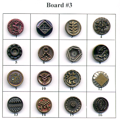 Antique Metal Buttons - Board #3