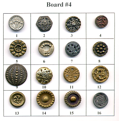 Antique Metal Buttons - Board #4