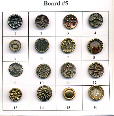 Antique Metal Buttons - Board #5