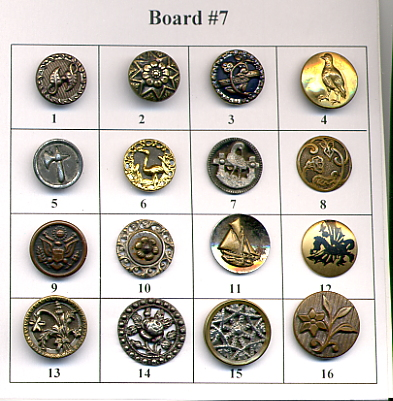Antique Metal Buttons - Board #7