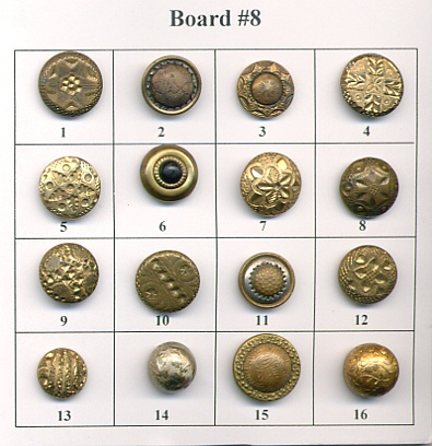 Antique Metal Buttons - Board #8