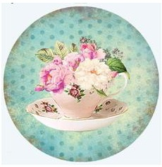 Teacup - Teal Polka Dot