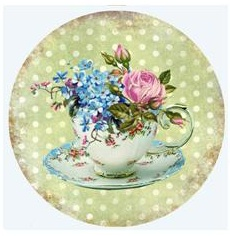Teacup - Green Polka Dot