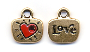 Love Charm - Gold w/Red Rhinestone