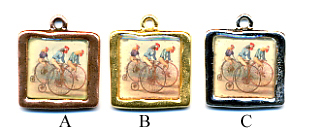 Bicycling Chickens Charm